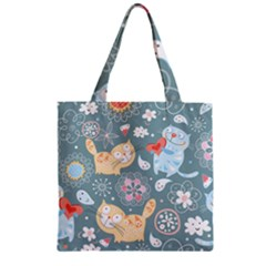 Cute Cat Background Pattern Zipper Grocery Tote Bag by BangZart