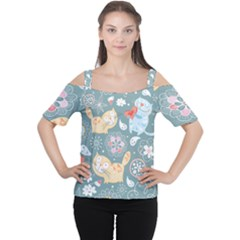 Cute Cat Background Pattern Cutout Shoulder Tee