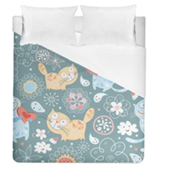 Cute Cat Background Pattern Duvet Cover (queen Size) by BangZart