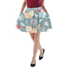 Cute Cat Background Pattern A Line Pocket Skirt