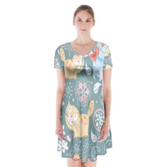 Cute Cat Background Pattern Short Sleeve V Neck Flare Dress