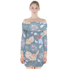 Cute Cat Background Pattern Long Sleeve Off Shoulder Dress