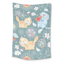 Cute Cat Background Pattern Large Tapestry