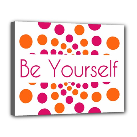 Be Yourself Pink Orange Dots Circular Canvas 14  X 11  by BangZart