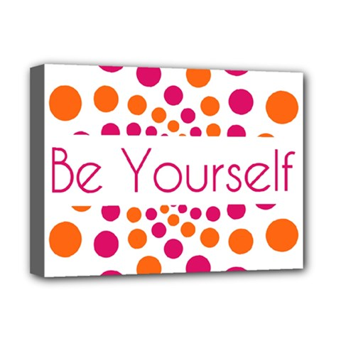Be Yourself Pink Orange Dots Circular Deluxe Canvas 16  X 12   by BangZart