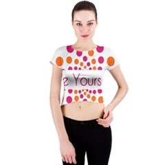 Be Yourself Pink Orange Dots Circular Crew Neck Crop Top