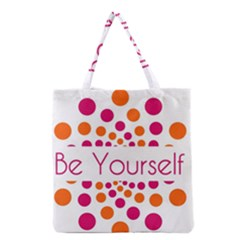 Be Yourself Pink Orange Dots Circular Grocery Tote Bag by BangZart