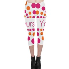 Be Yourself Pink Orange Dots Circular Capri Leggings
