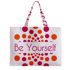 Be Yourself Pink Orange Dots Circular Zipper Mini Tote Bag