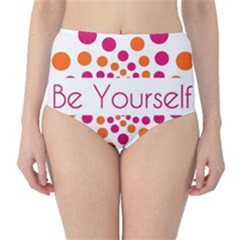 Be Yourself Pink Orange Dots Circular High Waist Bikini Bottoms