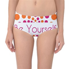 Be Yourself Pink Orange Dots Circular Mid Waist Bikini Bottoms