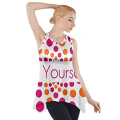 Be Yourself Pink Orange Dots Circular Side Drop Tank Tunic