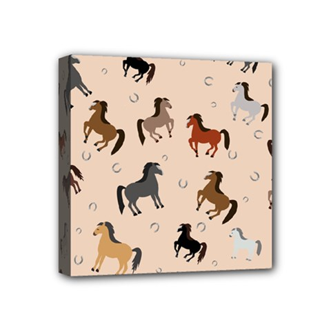 Horses For Courses Pattern Mini Canvas 4  X 4