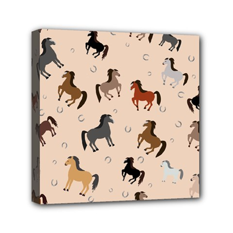 Horses For Courses Pattern Mini Canvas 6  X 6  by BangZart
