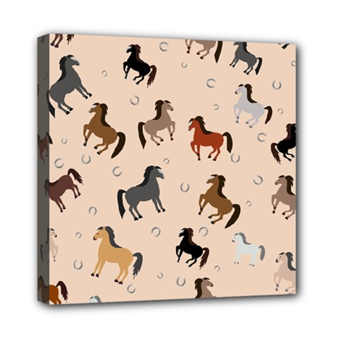 Horses For Courses Pattern Mini Canvas 8  X 8