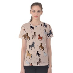 Horses For Courses Pattern Women s Cotton Tee