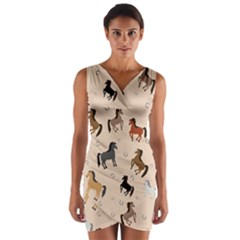 Horses For Courses Pattern Wrap Front Bodycon Dress