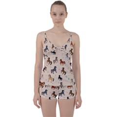 Horses For Courses Pattern Tie Front Two Piece Tankini