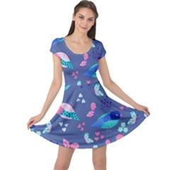 Birds And Butterflies Cap Sleeve Dresses