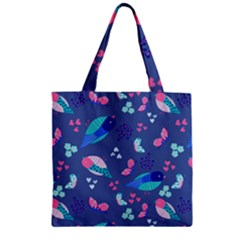 Birds And Butterflies Zipper Grocery Tote Bag
