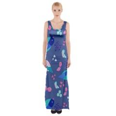 Birds And Butterflies Maxi Thigh Split Dress