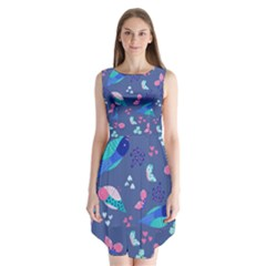 Birds And Butterflies Sleeveless Chiffon Dress