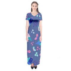 Birds And Butterflies Short Sleeve Maxi Dress by BangZart