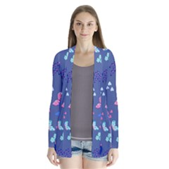 Birds And Butterflies Drape Collar Cardigan