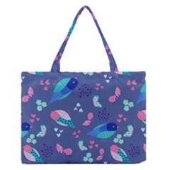 Birds And Butterflies Medium Zipper Tote Bag