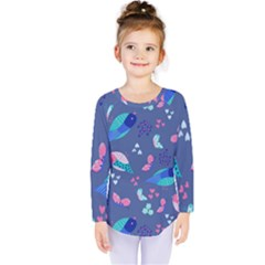 Birds And Butterflies Kids  Long Sleeve Tee