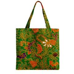 Art Batik The Traditional Fabric Zipper Grocery Tote Bag by BangZart