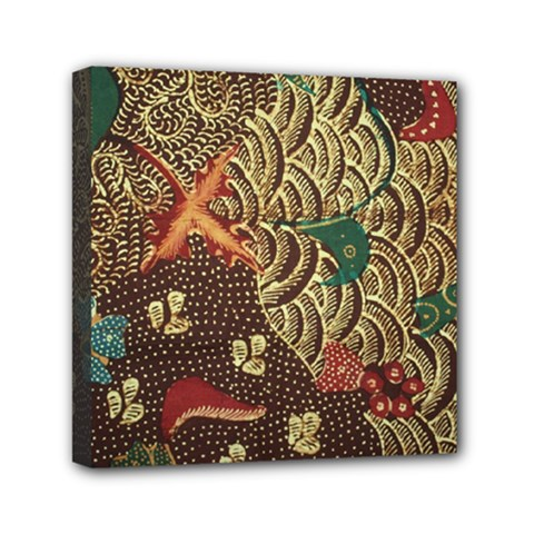 Art Traditional Flower  Batik Pattern Mini Canvas 6  X 6  by BangZart