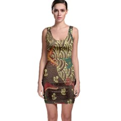 Art Traditional Flower  Batik Pattern Bodycon Dress