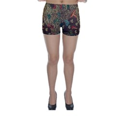 Art Traditional Flower  Batik Pattern Skinny Shorts