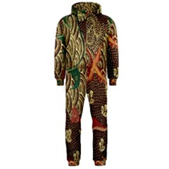 Art Traditional Flower  Batik Pattern Hooded Jumpsuit (men)