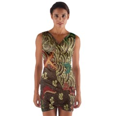 Art Traditional Flower  Batik Pattern Wrap Front Bodycon Dress