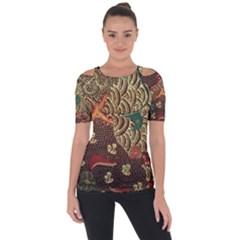 Art Traditional Flower  Batik Pattern Short Sleeve Top