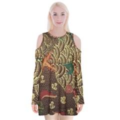 Art Traditional Flower  Batik Pattern Velvet Long Sleeve Shoulder Cutout Dress