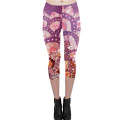Colorful Art Traditional Batik Pattern Capri Leggings