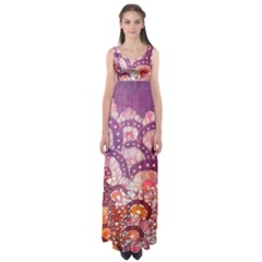 Colorful Art Traditional Batik Pattern Empire Waist Maxi Dress