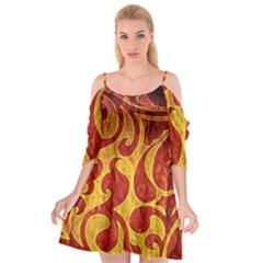 Abstract Pattern Cutout Spaghetti Strap Chiffon Dress