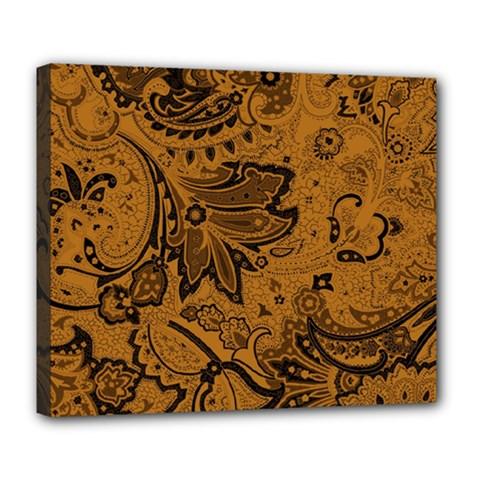 Art Traditional Batik Flower Pattern Deluxe Canvas 24  X 20   by BangZart
