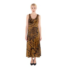 Art Traditional Batik Flower Pattern Sleeveless Maxi Dress