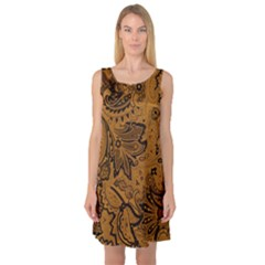 Art Traditional Batik Flower Pattern Sleeveless Satin Nightdress