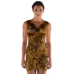 Art Traditional Batik Flower Pattern Wrap Front Bodycon Dress