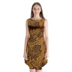 Art Traditional Batik Flower Pattern Sleeveless Chiffon Dress