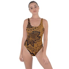 Art Traditional Batik Flower Pattern Bring Sexy Back Swimsuit