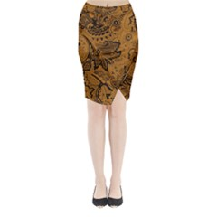 Art Traditional Batik Flower Pattern Midi Wrap Pencil Skirt
