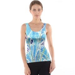 Art Batik Flowers Pattern Tank Top