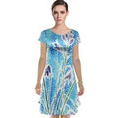 Art Batik Flowers Pattern Cap Sleeve Nightdress